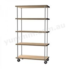 Rustic Industrial DIY Pipe Shelf Storage Shelving Brackets With Castors BSW040