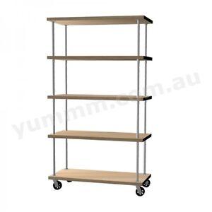 Rustic Industrial DIY Pipe Shelf Storage Shelving Brackets With Castors BSW040