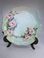Antique Signed Porcelain Hand Painted Floral Plate Marked Charlotte Bavaria