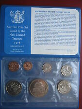 New Zealand 1978 UNC Set 1 Cent - 1 Dollar Waitangi Beehive mint folder infocard