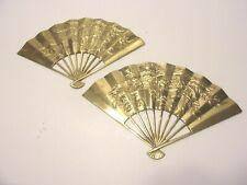 2 Vtg Brass Oriental Hand Fan Dragon Phoenix Wall Decor