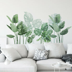 Removable Wall Stickers Nursery Tropical Green Monstera Leaves Home Decor AU