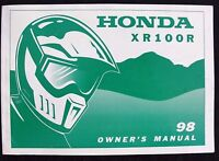 GENUINE 1998 HONDA 100 XR100R DIRT BIKE MOTORCYCLE OPERATORS MANUAL VERY GOOD