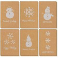 36 Merry Christmas Holiday Kraft Greeting Cards Bulk Box Set Snowman & Snowflake