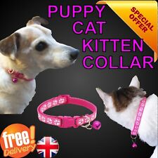 Cute Paw Print Adjustable Kitten Collar Bell Tie Cat Pet Puppy Hot Pink Nylon
