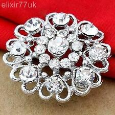 NEW SILVER TONE HEART AND FLOWER RHINESTONE DIAMANTE CRYSTAL PIN BROOCH WEDDING