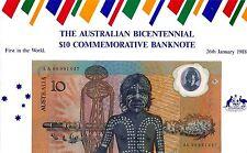 1988 $10 BICENTENARY FIRST PREFIX AA 000 SPECIAL PRESENTATION AUSTRALIA UNC