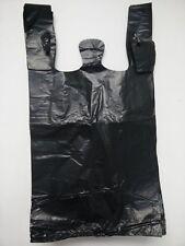 Heavy Duty 1/6 Large 21 x 6.5 x 11.5 BLACK T-Shirt Plastic Grocery Shopping Bags
