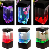 Relaxing Bedside Mood Lamp Volcano Water Aquarium Fish Tank LED Light Hot hg