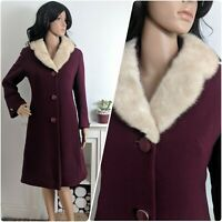 Vintage 60s Plum Mink Collar Crepe Wool Fitted Coat Mod Chic 50s 10 38