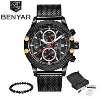 BENYAR Fashion Chronograph Mens Watches Luxury Military Stainless Steel Gift Him