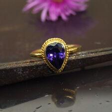 Omer Turkish Designer Amethyst Stack Ring 925k Sterling Silver 24k Gold Vermeil