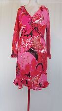 GUCCI Pink Paisley Floral Signed Long Sleeve Silk Ruffle V-Neck Dress 42 / US 8