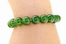 Handmade 10mm Natural Green Jade Round Gemstone Beads Stretchy Bracelet 7.5""