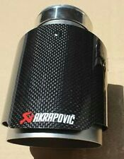 2 x Universal AKRAPOVIC Exhaust Tips Pipe gloss Carbon Fiber & stainless steel