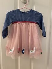 Baby Boden Girls Size 3-6 Months Magical Tulle Blue Dusty Pink Llamas Dress