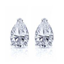 14K White Gold Finish 2 CT Pear Cut Brilliant Diamond Solitaire Stud Earrings