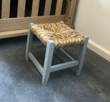 Small Wicker Footstool Retro Rattan Light Grey Wood Light Brown Children's Seat