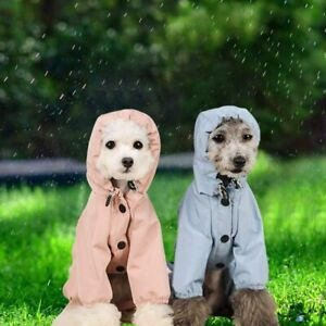 Pet Dog Raincoat Waterproof Rain Coat With Hood Reflective Strip Jacket Rainwear