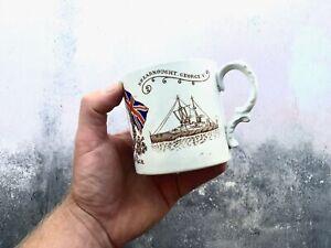 Antique 1911 King George V Queen Mary Coronation Mug - Dreadnought / Battleship
