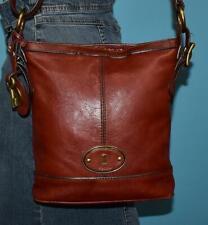 FOSSIL Sienna Brown Leather MADDOX Bucket Crossbody Shoulder Satchel Purse Bag