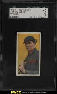 1909-11 T206 Vic Willis WITH BAT, POLAR BEAR SGC 3 VG