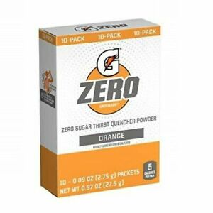 GATORADE ORANGE ZERO Single Packets SUGAR FREE (10 servings x 1 box) FREE Ship
