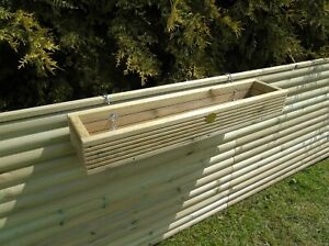 Over the Fence Panel Hanging Wooden Planter Decking Trough Choice Of Hook Sizes
