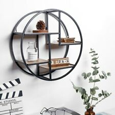 Round Retro Wall Unit Wood Metal Hanging Shelf Office Home Art Storage Modern