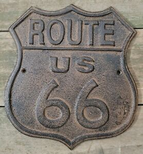 Cast Iron ROUTE US 66 Plaque Automotive Garage Sign Wall Decor Gas and Oil