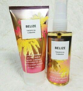 Bath & Body Works BELIZE Tropical Cabana Travel Body Cream Fragrance Mist Set