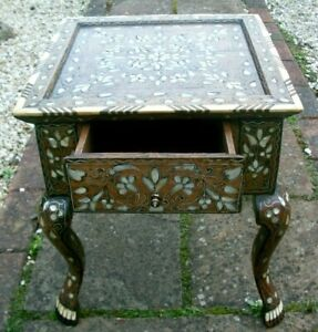 BEAUTIFUL RARE  ANTIQUE  ISLAMIC WOODEN INLAID SIDE TABLE WITH DRAWER