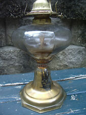 Antique Oil Lamp Kerosene Pedestal Glass Gold Eagle Flip Top Burner Octagon