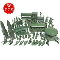 56pcs Military Model Playset Toy Soldier Army Men Action Gifts Set Figures L6C0