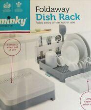 MINKY FOLDAWAY WASHING UP DISH RACK DRAINER WHITE