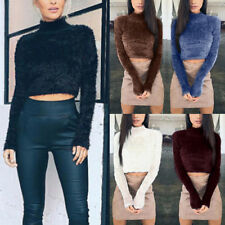 Casual Women High Neck Crop Top Fluffy Fur Long Sleeve Jumper Pullover Sweater