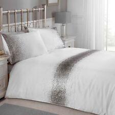 SCINTILLANTI STRASS Set Copripiumino doppio bianco argento Biancheria da letto