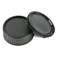1 Set Rear Lens Cap And Body Cap Cover For Leica M LM camera Black Plastic New·