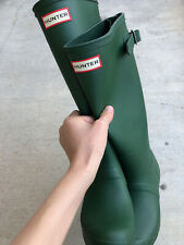 HUNTER Women's Original Back Adjustable Rain Boots - Green (US 6)