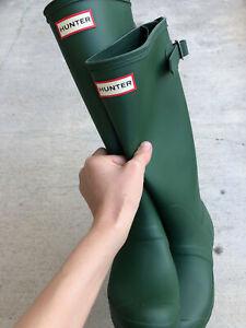 HUNTER Women's Original Back Adjustable Rain Boots - Green (US 6)