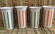 Schmid Porcelain Lagardo Tackett Set 4 Striped Tumblers Orange Green MCM Japan