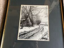 Wonderful Original Etching, Winter Scene Titled Winter Magpie Lane By Denis Roe