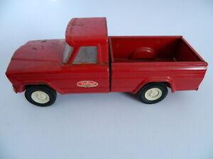 "Vintage 1960's Tonka Red Jeep Pickup Pick-Up 9"" Pressed Steel Truck"