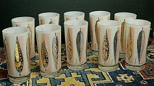 10 Mid-Century Fred Press Gold Pink White Cased High-Ball Drinking Glasses Excel