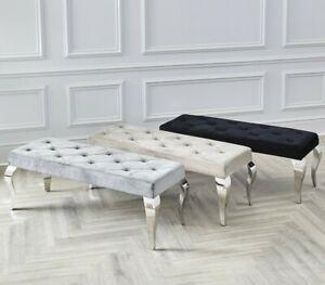 130cm Louis Chrome Dining Bench Upholstered Buttoned Velvet Grey Cream Black