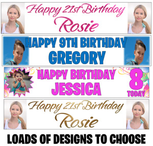 2x Personalised Photo Banners Birthday Party Christening Name Age Banner