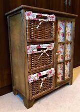 Châtaigne bois shabby chic stockage armoire placard osier tiroirs floral Fleur