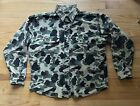 Five Brother Frog Camo Vintage Canvas Hunting Hiking Camping Shirt Men L (XL)