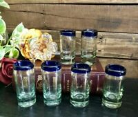 6 Mexican Blue Rim Tall Shot Glasses Hand Blown Barware Bubble Liquor glasses