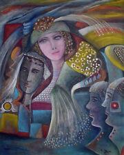 """MARIA MURGIA - """"L'indecisa"""" - Olio su tela sabbiata cm 100x80"""